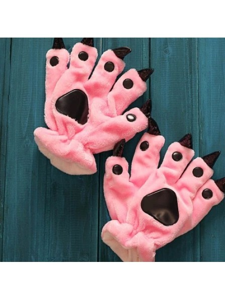 Pink Unisex Onesies Tier Hände Paw Flanell Cartoon Handschuhe