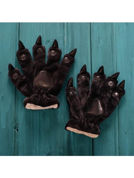 Schwarz Unisex Onesies Tier Hände Paw Flanell Cartoon Handschuhe