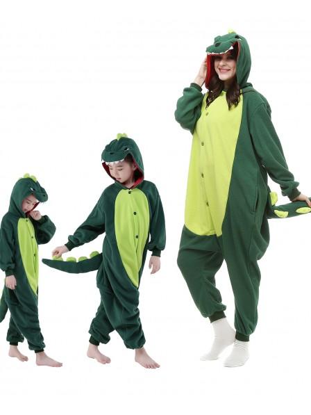 Grün Dinosaurierier Unisex Kigurumi Onesie Pyjamas Tier Kostüme für Erwachsene und Kinder