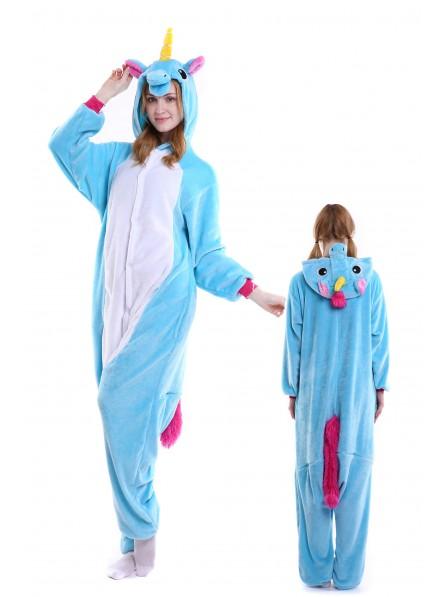 Blaues Einhorn Pyjama Onesies Weich Tier Kostüme Für Damen & Herren Schlafanzug Kostüm