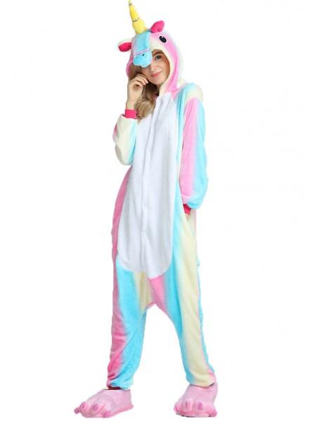 Buntes Einhorn Pyjama Onesies Weich Tier Kostüme Für Damen & Herren Schlafanzug Kostüm