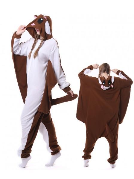 Braunes Flughörnchen Pyjama Onesies Tier Schlafanzug Kostüm