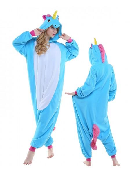 Neu Blaues Einhorn Pyjama Onesies Tier Kostüme Für Erwachsene Schlafanzug Kostüm